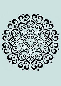 Schablone** Florales Mandala  **für Stoffe, Möbel, Wände, usw. ** Nr.: 1259