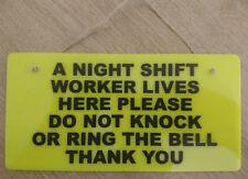 NIGHT SHIFT WORKER DO NOT DISTURB KEEP QUIET SLEEPING DOOR SIGN YELLOW & BLACK