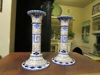 Vintage Mosaic Style Blue Ceramic Candle Holders  - A Pair