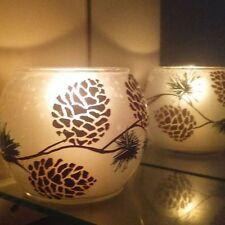 One Bowl Candles Holders Glass Vase Art Work Pine Tea Light Gift