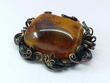 Genuine AMBER Stone Brooch Pin Vintage Old Antique Baltic Jewelry RARE Russian