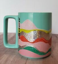 NEW Starbucks Spring 2020 Teal Wave Silver Foil Ceramic Mug 12 oz