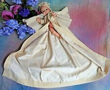 ANTIQUE doll clothes Long WOOL COAT for BYE-LO BABY Christening gown jacket ECRU