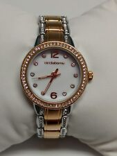 B042 Jcpennys Liz Claiborne Watch rose gold/ silver tone rhinestone accents