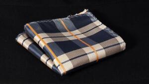 Silk Blue Pocket Square Orange Check Striped handkerchief