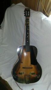 """Vintage 1930S-40S KAY Del Oro Spanish Gold """"Lucky 7s"""" Archtop Acoustic Guitar!"""