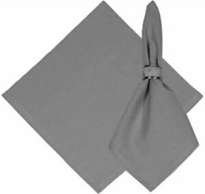 "Set of 12 KAF Home Chateau Easy-Care Cloth Dinner Napkins 20""x20"" GREY NEW/FAST"