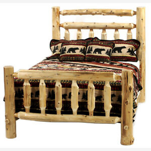 Deluxe Log Bed!! Log bedroom furniture! Rustic Cabin Decor! FREE QUICK SHIPPING!