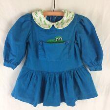 Vintage Girls Dress 3T Blue w Peeking Frog Pocket 1990s Long Sleeved Googly Eyes