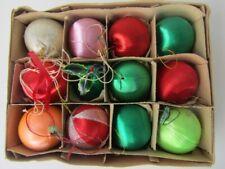 12 OLD VINTAGE ANTQUE CHRISTMAS TREE BALLS BAUBLES ORNAMENTS NYLON/SILK/COTTON ?