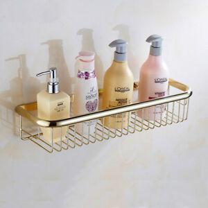 Polished Gold Brass Wall Mounted Bathroom Shower Storage Caddy Shelf Basket