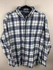 6608712c David Taylor 100% Cotton Blue and White Plaid Flannel Shirt XL
