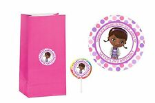 20 Doc McStuffins 2 inch Stickers Party Bag Tags Favors Lollipop Personalize