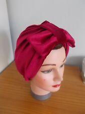 TURBAN RED WINE velvet VINTAGE LOOK 1940s 50s SWING HAT HEAD SCARF HAIR pin up