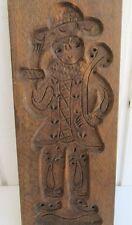 Primitive Antique Carved Wood Cookie Bakery Mold Folk Art Waving Man Horn Hat