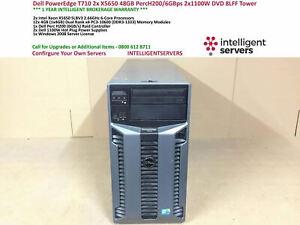 Dell PowerEdge T710 2x X5650 48GB PercH200 2x 1100WPS 8LFF DVD Tower Server
