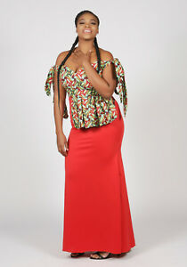 African Print Sexy Red Carpet Wedding Evening Party Dress Size-UK10,12,14,16,18