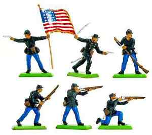 Britains Deetail Union Infantry - 6 in 6 poses - # 7450 ex-mint condition