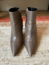 PRADA Ankle Stiletto Boots Booties, Leather, Taupe, High Heel, Size 39.5