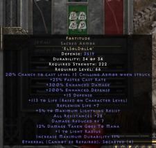 Diablo 2 Resurrected D2R - Fortitude eth Sacred Armor