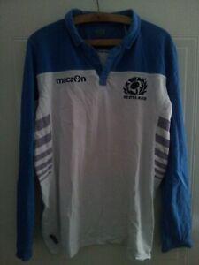 Scotland Rugby Union Shirt Macron Jersey Long Sleeve Original Rare Top Mens Size