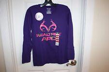 NEW Realtree Shirt Women's Small Purple Long Sleeve T-Shirt Pink Camo Logo APC