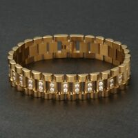 Luxus Herren Gelbgold Armband Panzerkette Edelstahl 750er Gold vergoldet 22cm