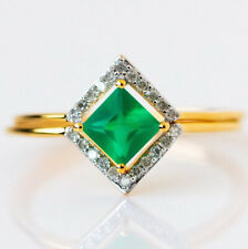 Carrie Elizabeth green onyx and diamond ring set, small