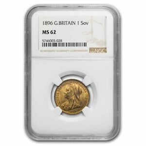 1896 Great Britain Gold Sovereign Victoria Veil MS-62 NGC - SKU#235265
