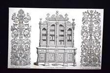 Design pannello,Papworth-Libreria intagliata,Società ebanisti Incisione del 1851
