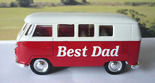 """Personalised """"BEST DAD """" Gift Red VW CAMPER Van BUS Toy Birthday Present"""