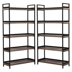 2 x 5 Tier Contemporary Industrial Bookshelf/Shelving Unit Oak finish 1750mmH
