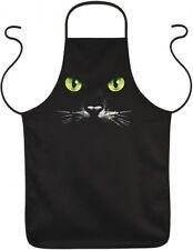 Schürze Kittel für Tierfreunde - Schwarze Katze, grüne Augen