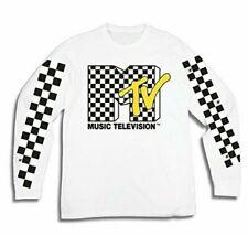 Mtv Music Television T-Shirt White Mens Rock Pop Hip Hop Retro Tv Show Tee L/S