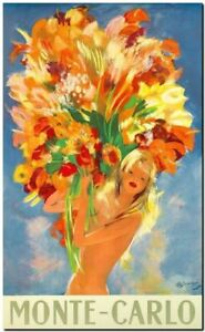 "Vintage Illustrated travel Poster CANVAS PRINT Monte Carlo Girl flowers 36""x24"""
