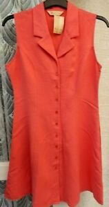 ( Ref 5790 ) BHS - Size 10 - Coral Sleeveless Front Buttoning Summer Dress BNWT