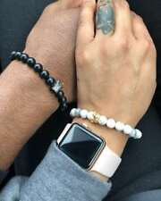 His And Her King Queen Crown Couple Bracelets Friendship 8mm Beads Bracelet Gift