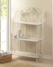 Folding white Metal iron Scrollwork Shelf curio kitchen Bakers Rack Plant Stand