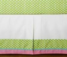 Pottery Barn Kids Simone Bed Skirt Crib Pink & Green Flower Print Girls Nursery