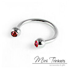 Gem Curved Circular Barbell Horseshoe Lip Earring Brow Ring 316l Surgical Steel Red