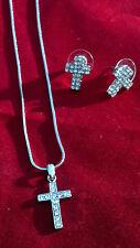 Rhinestone Cross Charm Necklace & Earrings