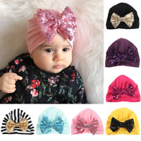 Baby Toddler Girls Cute Shiny Sequin Bowknot Turban Hat Stretchy Beanie Cap