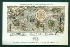 ICELAND #681 Souvenir sheet Maps, og, NH, VF, Scott $11.00
