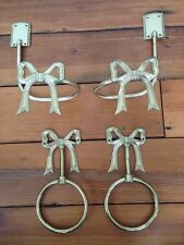 Lot of 4 Vintage Solid Brass Ribbons Bows Decorative Curtain Tie Backs  Tiebacks