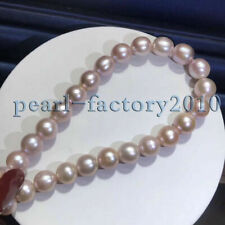 "new 10-9MM Purple natural 18"" AAA++ SOUTH SEA PEARL NECKLACE 14K gold Clasp"