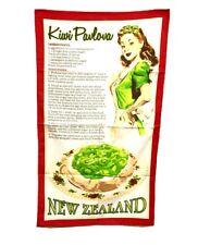 Kiwi Pavlova Dessert New Zealand Recipe Printed Cotton Dish Tea Towel Souvenir
