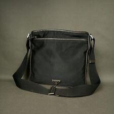 AUTH PRADA MILANO Nylon / Leather Messenger Crossbody Bag Shoulder