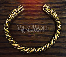 Gold Viking Dragon Head Bracelet --- Norse/Medieval/Bronze/Jewelry/Torc/Skyrim