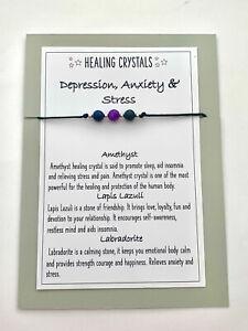 STRESS & DEPRESSION ANXIETY HEALING CRYSTAL GEMSTONE BRACELET CHAKRA  REIKI