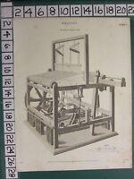 1814 Datato Antico Stampa ~Tessitura~ Mr AUSTIN'S Motore Loom Con Shuttle